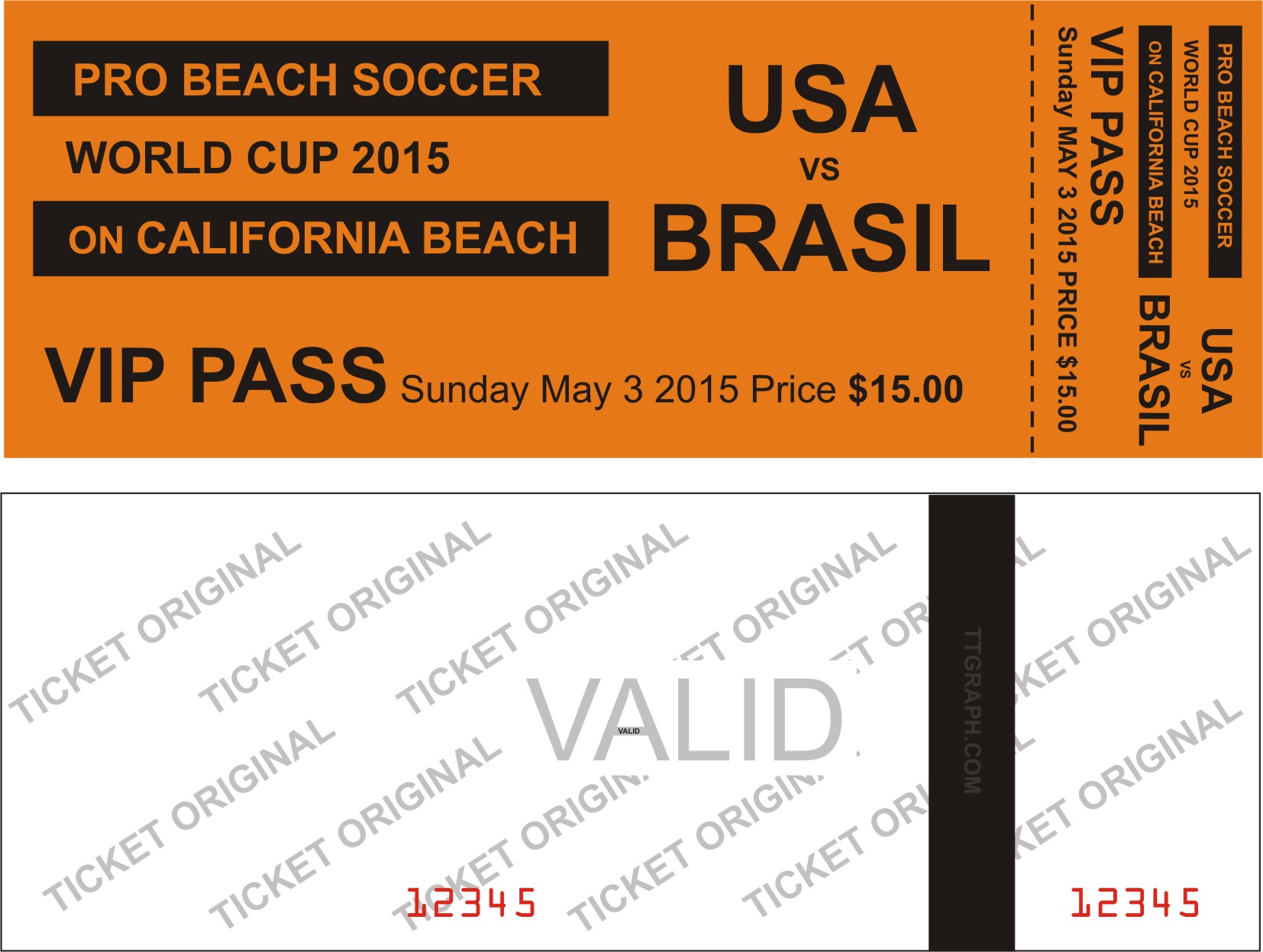 ticket samples for an event